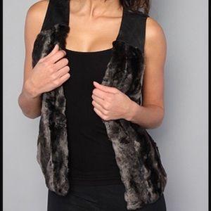 Free People Vegan Fur/Leather Black and Brown Vest